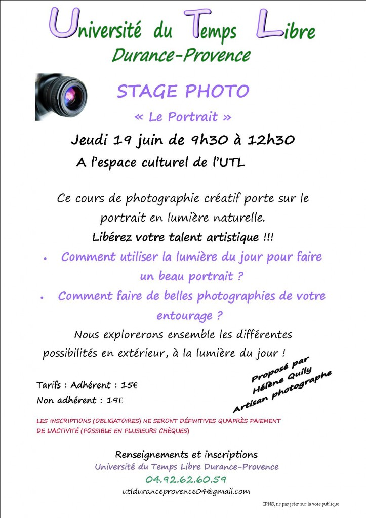 Affiche Stage photo Portrait