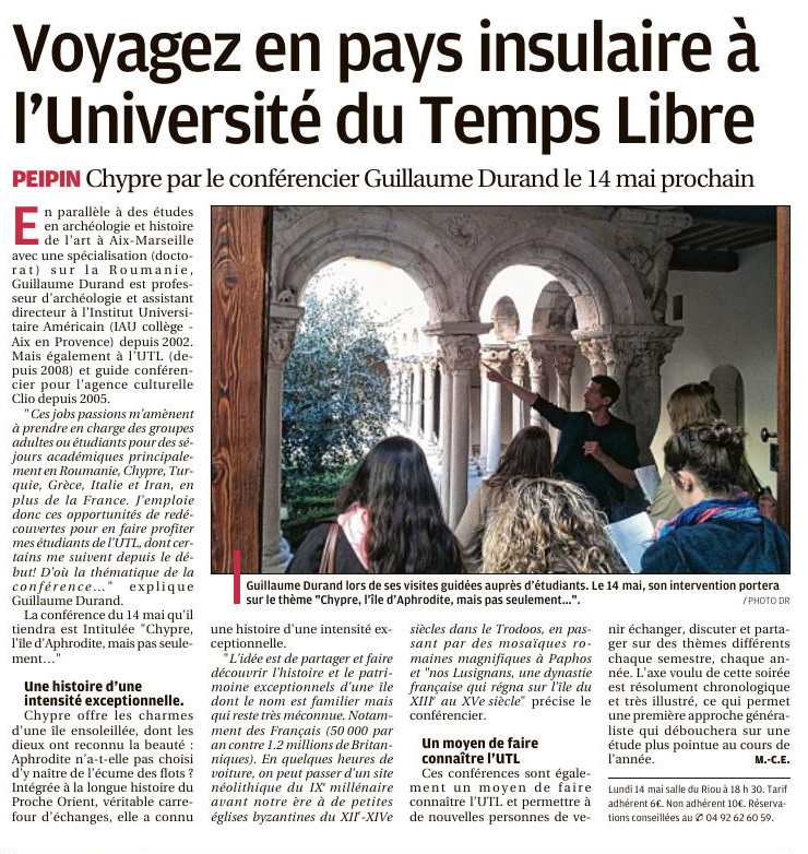 article journal sisteron val durance conférence chypre